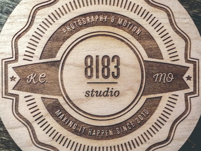 8183 Studio Coaster Final Product badge laser etched wood coaster photography kansas city