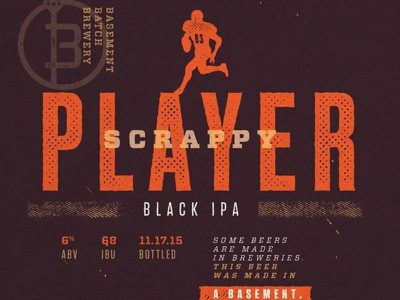 Scrappy Player Black IPA brew player scrappy ipa football textured print packaging the league package label beer