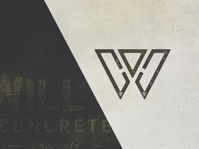 WCC Logo Concept wills concrete concepts w concrete texture monogram logo