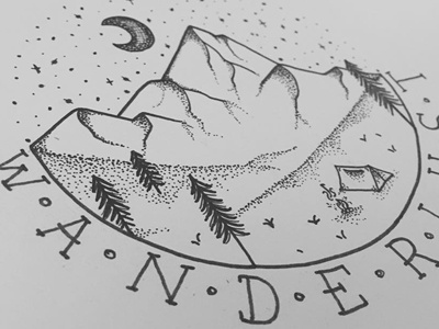 Wanderlust type handdrawn design wanderlust