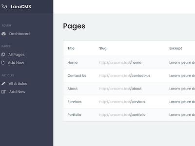 LaraCMS Pages ui flat laravel cms