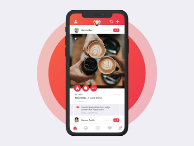 VIPPA App newsfeed post food vouchers loyaltycard services cafe deals uxui app design app