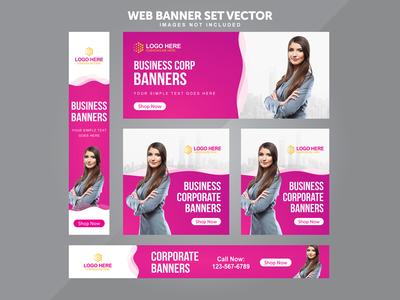 Business Web Banner Set Vector Templates