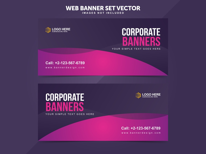 Business Web Banner Set Vector Templates by Miyaji Tech on Dribbble