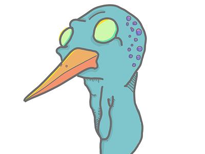 bird head modern skateboard street urban illustration procreate bird
