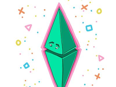 Plumbob-esque plumbob sims shapes sketch procreate vibrant colorful flat street urban geometric diamond