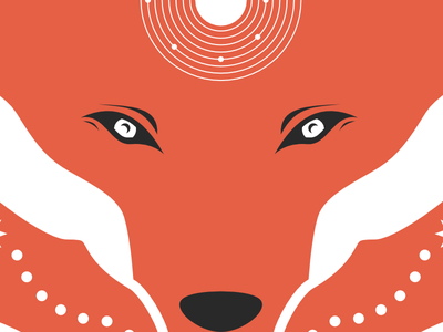 The Fox Who Sees fox solar system orange eyes inkscape open source art nouveau star planet mucha vector