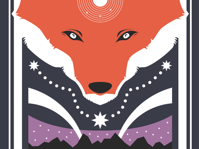 The Fox Who Sees (Update 1) fox inkscape open source solar system stars mountains vector