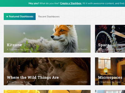 Featured Stashboxes gradient cover social photography fox featured recent web ui nav pills explore discover