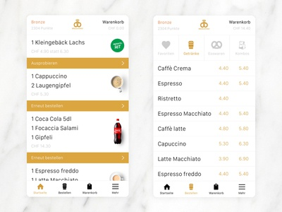 Order coffee and croissants on the go. typography iconography ux ui gold white design app ecommerce mobile