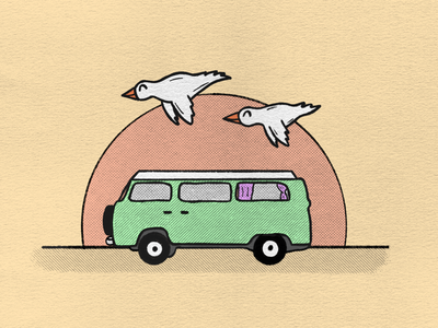 Road trip van road trip texture procreate drawing birds sunset illustration campervan