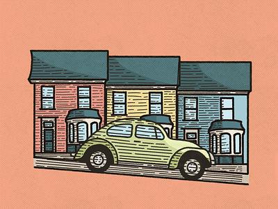 Evening drive car houses vintage retro beetle drawing illustration