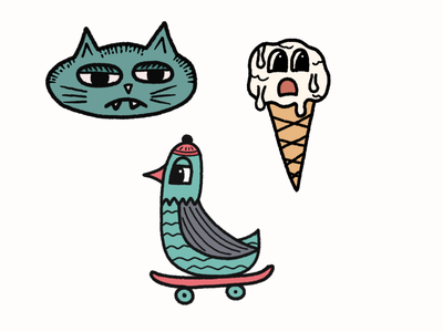 Sticker drawings doodle doodleart cartoon cute cool cone icecream lazy cat skateboards skateboard skate duck stickers character design drawing illustration