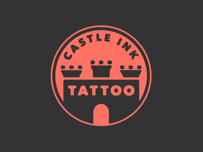 Castle Ink Tattoo vector typography illustrator minimalist logo red and black branding castle logo castle logo