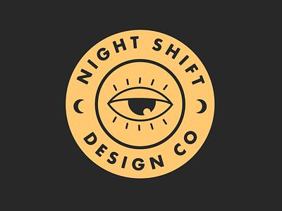NightShift logo illustrator design vector moon night blackandyellow eyeball logo branding