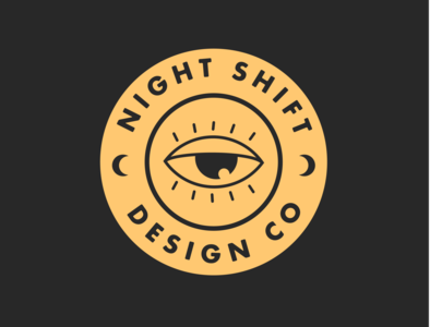 NightShift logo illustrator design vector moon night blackandyellow eyeball logo branding