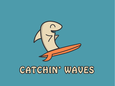 Catchin' Waves illustrator hobo logo character beach vibes waves fun animals surf shark design branding vector illustration