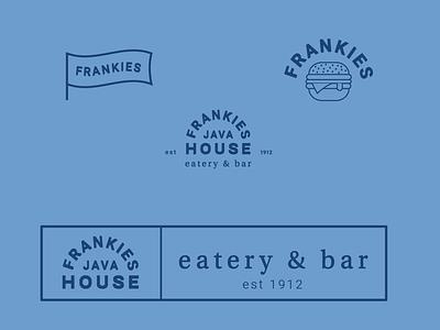 Some branding concepts for Frankie's eatery burger blue clean illustrator logo design branding vector illustration