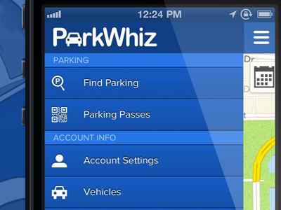 ParkWhiz iPhone App Drawer parkwhiz blue app iphone menu white nav icons pw parking