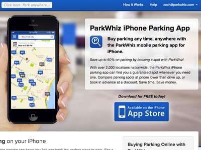 ParkWhiz App Landing Page animations parking pw white menu iphone blue parkwhiz css3 landing page app