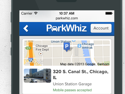 New ParkWhiz Mobile Site mobile mobile-web touch blue parkwhiz iphone android
