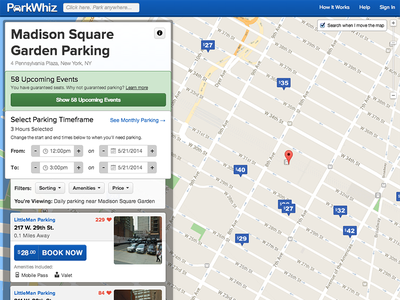 New ParkWhiz Search search blue parkwhiz layout map listing list