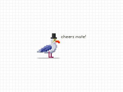 Sullivan, the snooty seagull seagull bird pixel pixel art game game pixel fancy snooty