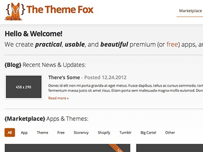 The Theme Fox - Homepage fox site themes orange brown white theme fox