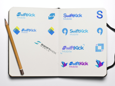 Logo mockups for SwiftKick Mobile