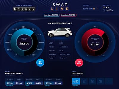 Swap Live Auction bidding live auction dashboard ux ui