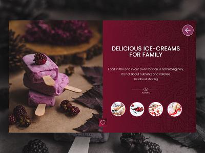 Ice Cream custom art recipe card webdesign ui