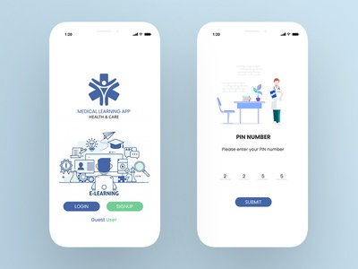 E Learning vector learning app medical app nurse app illustration ui