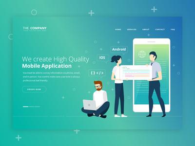 Mobile Application Website mobile app development website banner vector illustration design