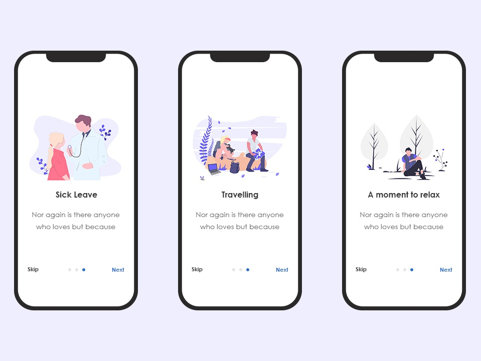 Skipping Screens travel app app illustration ui