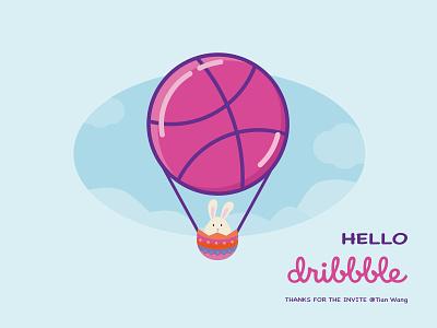 Hello Dribbble easter bunny easter eggs hello dribbble illustration vector