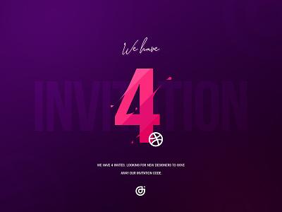 Dribbble 4 Invitation typography ux logo vector minimal design illustration dribbble invitation invite ui ui  ux design