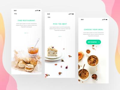 Onboarding For Food minimal ui  ux design hotel app onboarding screen onboarding food app food