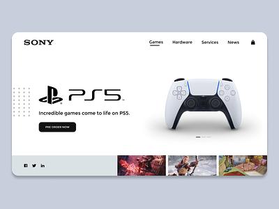 Sony PS5 UI Design Concept   Rish Designs website designer rish minimal light ui uidesign ps5 playstation5 landing page website design website ui  ux hero dailyui figma uxui uiux ui design ux ui rish designs