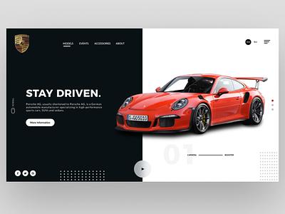 Porsche Header UI Design Concept   Rish Designs car website porsche 911 porsche landing page design header hero dailyui figma uxui uiux ui design dark ui ux ui rish designs