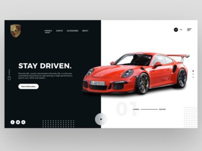 Porsche Header UI Design Concept | Rish Designs car website porsche 911 porsche landing page design header hero dailyui figma uxui uiux ui design dark ui ux ui rish designs