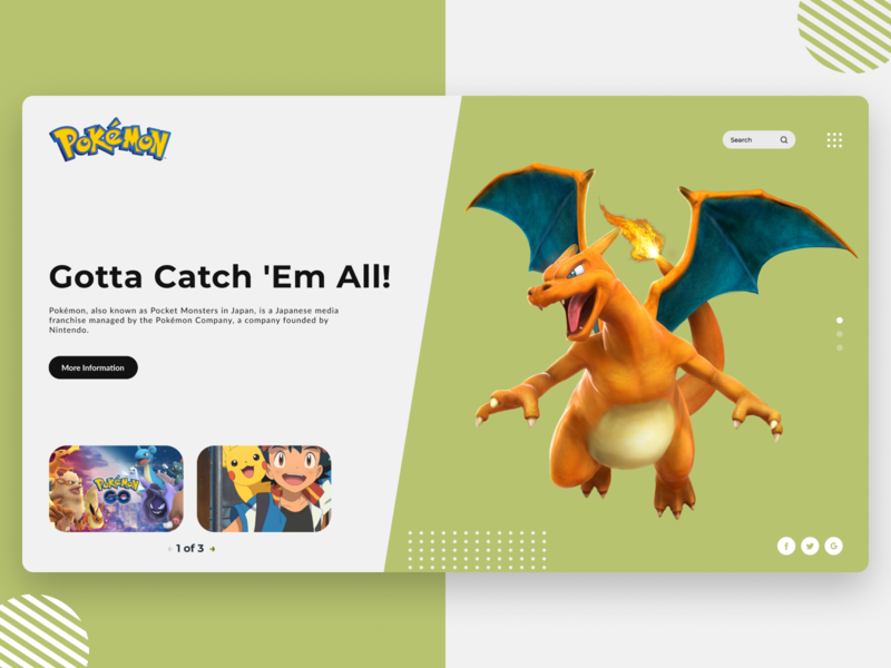 Pokemon UI Concept | Rish Designs light ui daily ui pokemongo pokemon ui designer ui deisgn web designer webdesign website designing website designer website design design dailyui uiux figma uxui ui design ux ui rish designs