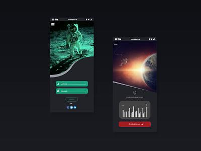 Space UI Concept   Rish Designs rish dark ui orbit rish designs app planet ux  ui moon alien ui space art