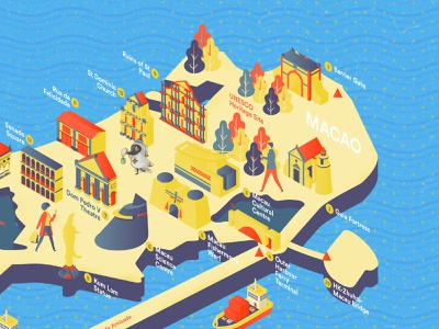 Macau Isometric Illustration building isometric affinity affinity designer vector illustration