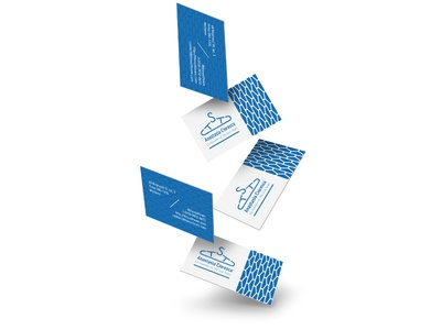 Anastasia's business cards with The Suit Team business card the suit team logo design