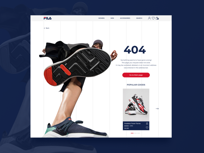 FILA. Page 404 sport girl ui design uidesign uiux webdesign website design footwear blue red illustrator photoshop figma design figmadesign figma snickers 404 fila redesign
