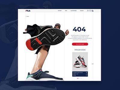 FILA. Page 404 sport girl ui design uidesign uiux webdesign website design footwear blue red illustrator photoshop figma design figmadesign figma snickers 404 fila redesign