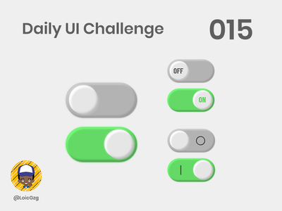 Daily UI Challenge 015 - On/Off Switch Button shadow inner shadow ios green grey off on button switch ui challenge daily ui