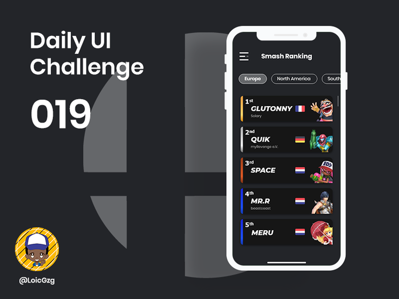 Daily UI Challenge 019 - Leaderboard adobe xd tournament battle fight switch nintendoswitch nintendo mobile dark mode europe smash bros esport gaming rank ranking leaderboard ui daily ui daily ui challenge