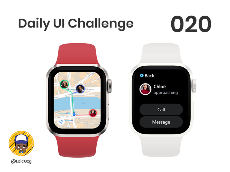 Daily UI Challenge 020 - Location Tracker adobe xd gps maps watchos mapping map applewatch friends locator tracker location challenge ui dailyui daily ui challenge