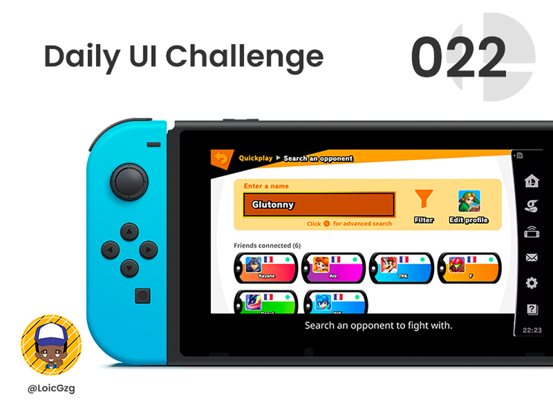 Daily UI Challenge 022 - Search figma friends gamedesign dailyuichallange nintendoswitch fighter online search nintendo gaming smash bros daily ui dailyuichallenge dailyui